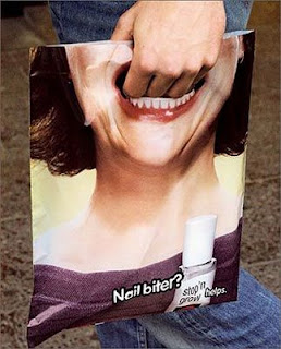 funny nail biting promotional carry bag photo