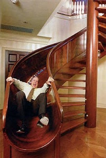 funny home slide instead of stairs pic