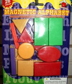 funny fridays photo of magnetic alpabet without any letters just square circle rectangle blocks