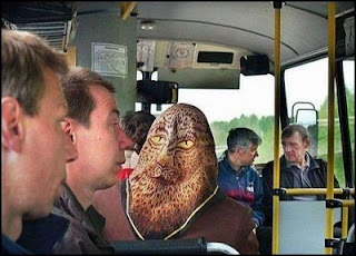 funny photo of alien on a bus just a head scarf of lion or chewbacca