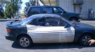 funny car photos smahed up repair with galvanised iron sheet not official toyota material