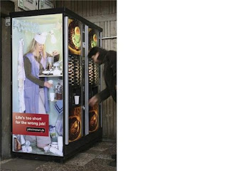 funny vending machine photos coffee maker woman inside