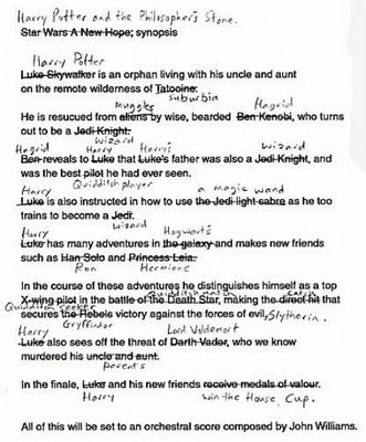fnny harry potter versus star wars synopsis changes