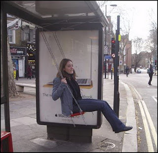funny photo of swing at bus stop good for delays