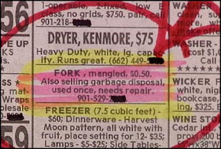 funny classified ads mangled fork and garbage disposal for sale