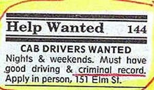funny positions vacant job ad for taxi cab driver with criminal record required