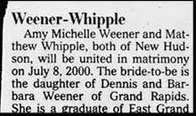 funy marriage names ad in newspaper engagement of weener whipple