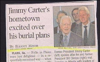 funny news headline about jimmy carter's burial plans home town excited