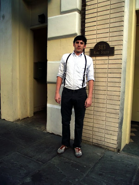 white shirts and leather suspenders, King Street Fashion, Charleston Street Style, South Carolina, Southern fashion, southern Street Style
