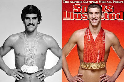 Mark Spitz wearing 7 gold medals Michael Phelps eight gold medals