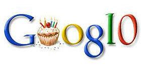 google 10th birthday logo
