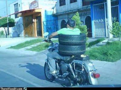 gambiarras moto pneu carro