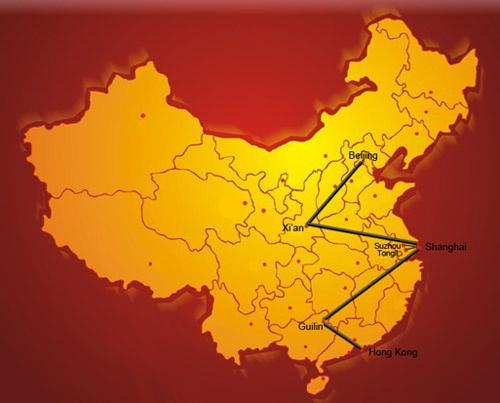 mapa del viaje por china