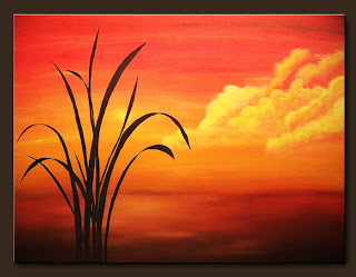 Landscape Painting-Sunset Palm-Abstract Art Paintings by Carmen Guedez - Image