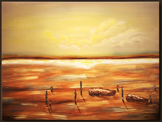 Landscape Painting-On the Sea-Abstract Art Paintings by Carmen Guedez - Image