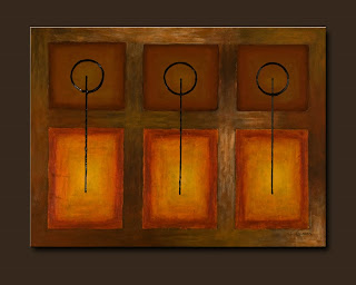 Symbols Painting-Tres Llaves-Abstract Art Paintings by Carmen Guedez - Image