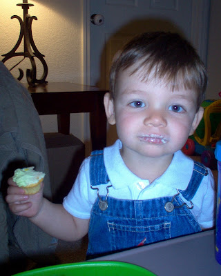 Chase enjoying a morning birthday cupcake!