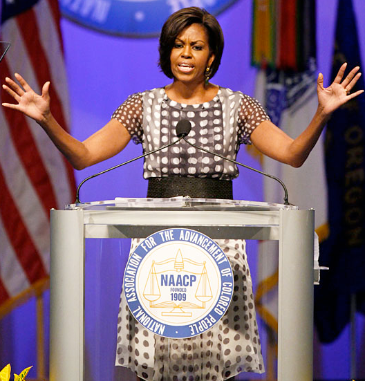 michelle obama s speech at naacp First lady michelle obama addressed the naacp national convention for its first plenary session, focusing her remarks on the problems of childhood obesity and her effort to address the problem through her let's move campaign prior to her speech senator claire mccaskill (d) and congressman emanuel .