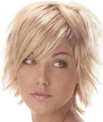 short hairstyles for thick hair round face