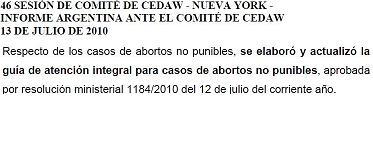 Reporte oficial Argentino