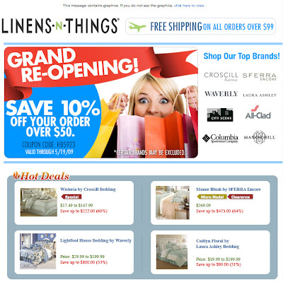 Click to view this May 15, 2009 Linens 'n Things email full-sized