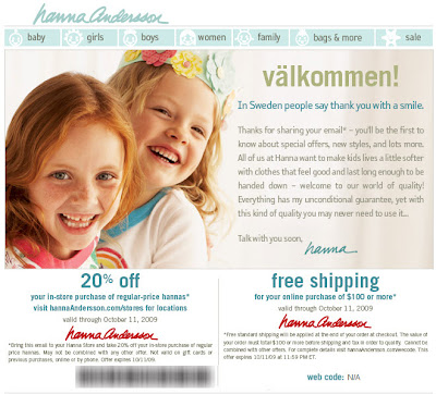 Click to view this Aug. 27, 2009 Hanna Andersson email full-sized
