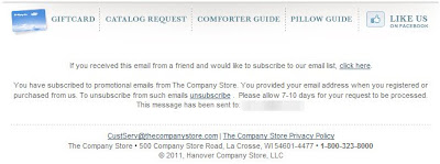 Click to view this Jan. 21, 2011 Company Store email full-sized
