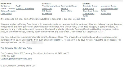Click to view this Jan. 19, 2011 Company Store email full-sized