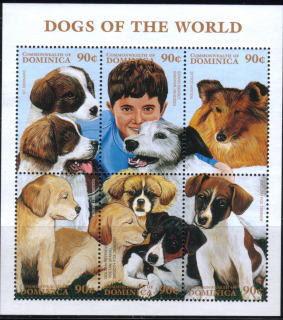 1997年ドミニカ国 セント・バーナード プチ・バセット・グリフォン・バンデーン ラフ・コリー ゴールデン・レトリーバー チベタン・スパニエル スムース・フォックス・テリアの切手シート