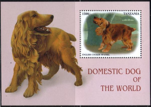 1999年タンザニア連合共和国 イングリッシュ・コッカー・スパニエルの切手シート