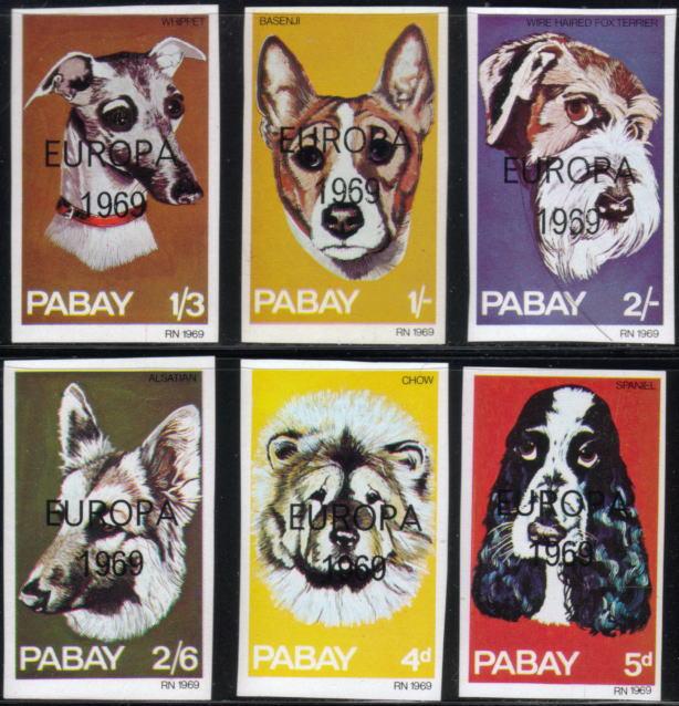 1969年Isle of Pabay(スコットランド) ウィペット バセンジー ワイアー・フォックス・テリア ジャーマン・シェパード チャウ・チャウ コッカー・スパニエルのローカル切手