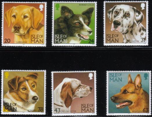 1996年マン島 ラブラドール・レトリーバー ボーダー・コリー ダルメシアン ミックス イングリッシュ・セター ジャーマン・シェパードの切手
