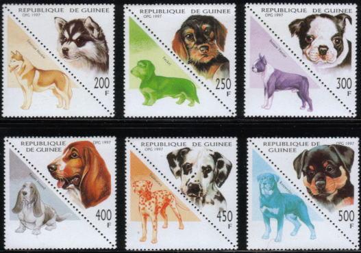 1997年ギニア共和国 シベリアン・ハスキー ダックスフンド ボストン・テリア バセット・ハウンド ダルメシアン ロットワイラーの子犬の切手