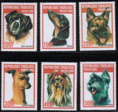 1999年トーゴ共和国 セント・バーナード ダックスフンド ジャーマン・シェパード イタリアン・グレーハウンド ヨークシャー・テリア シュナウザーの切手
