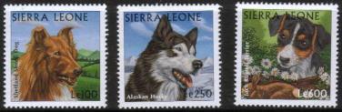 1997年シエラレオネ共和国 シェットランド・シープドッグ シベリアン・ハスキー ジャック・ラッセル・テリアの切手