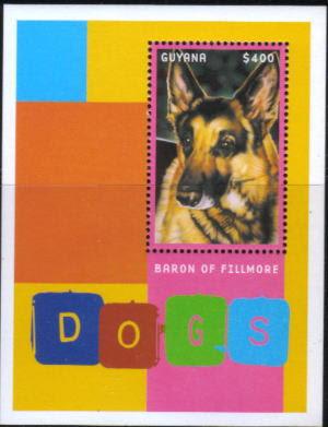 2001年ガイアナ協同共和国 ジャーマン・シェパードの切手シート