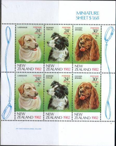 1982年ニュージーランド ラブラドール・レトリーバー ボーダー・コリー コッカー・スパニエルの切手シート