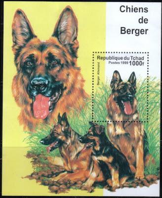 1999年チャド共和国 ジャーマン・シェパードの切手シート