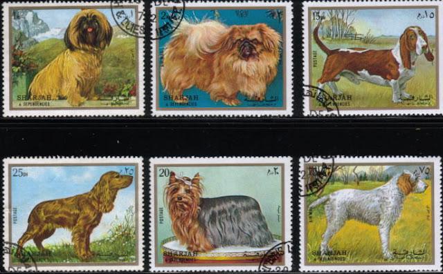 1972年シャルジャー 犬種不明 チベタン・テリア バセット・ハウンド コッカー・スパニエル ヨークシャー・テリア グリフォンの切手