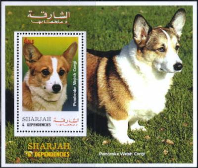 年度不明シャルジャー ウェルシュ・コーギー・ペンブロークの切手シート