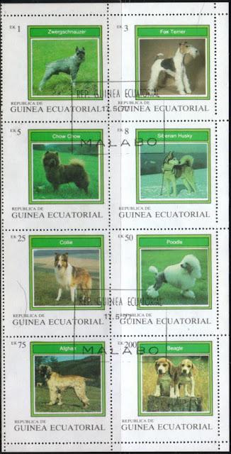 1977年赤道ギニア シュナウザー フォックス・テリア チャウ・チャウ シベリアン・ハスキー ラフ・コリー プードル アフガン・ハウンド ビーグルの切手シート