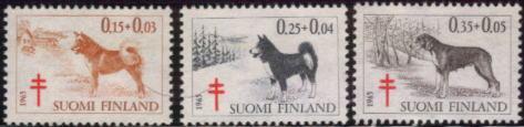 1965年フィンランド共和国 サブエソ フィニッシュ・スピッツ(ラパン・ポロコイラ)などの切手3種