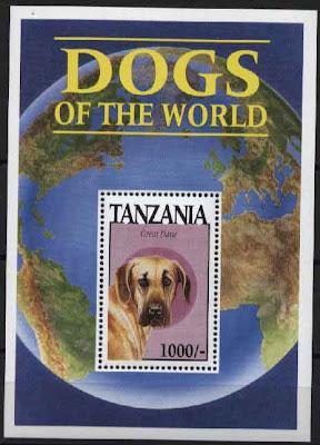 1994年タンザニア連合共和国 グレート・デーンの切手シート