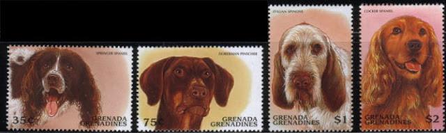 200X年グレナダ領グレナディーン諸島 スプリンガー・スパニエル ドーベルマン・ピンシャー イタリアン・スピオーネ コッカー・スパニエルの切手