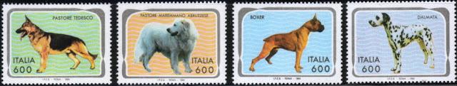 1994年イタリア共和国 ジャーマン・シェパード マレンマ・シープドッグ ボクサー ダルメシアンの切手