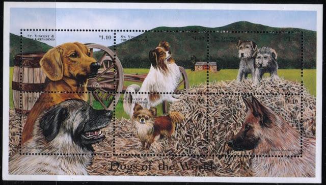 1998年セントビンセント・グレナディーン諸島 チロル・ハンティング・ドッグ パピヨン フォックス・テリア バーニーズ・マウンテン・ドッグ キング・チャールズ・スパニエル ジャーマン・シェパードの切手シート
