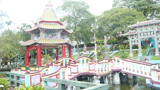 bridges over the many ponds in Haw Par Villa