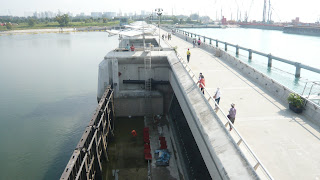 walkway along the barrage flood gates