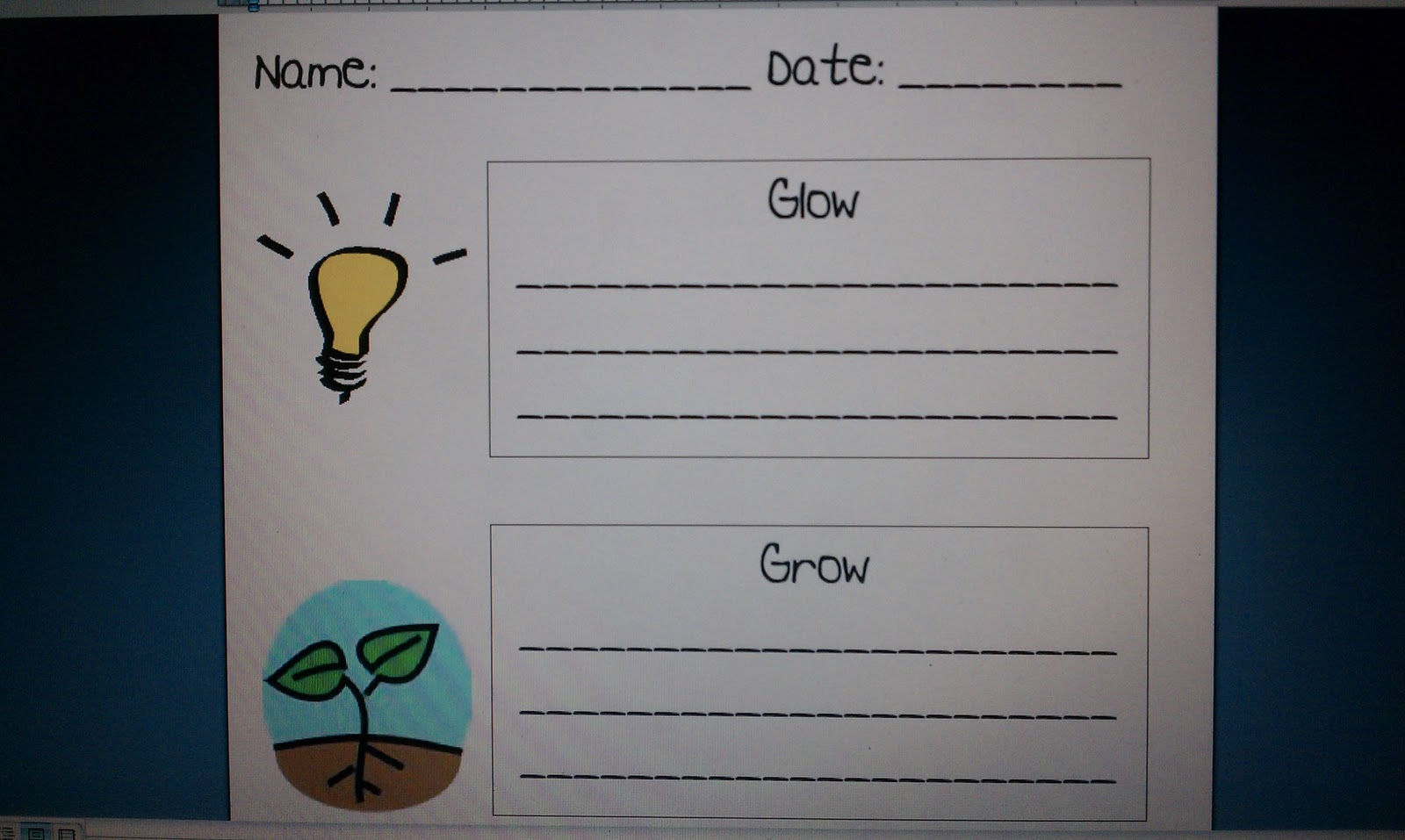 Go Glow and Grow http://wardswayofteaching.blogspot.com/2011/02/parent-teacher-conference-ideas.html