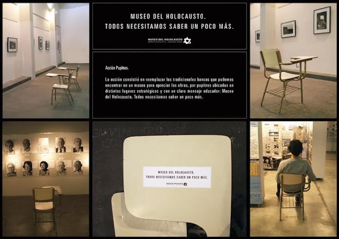 Acción con pupitres en el Museo del Holocausto